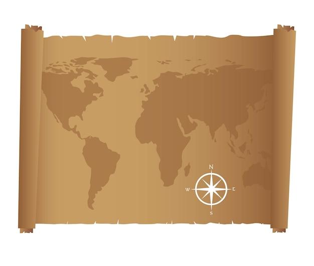 Mapa do mundo sobre papel velho com bússola rosa ilustração vetorial