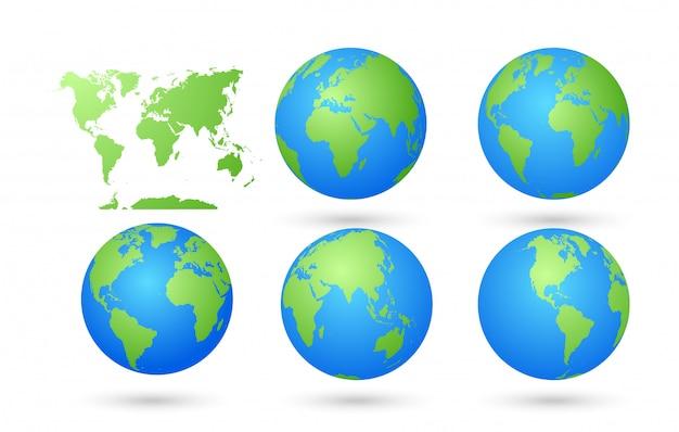 Mapa do mundo vetorial com conjunto de globos