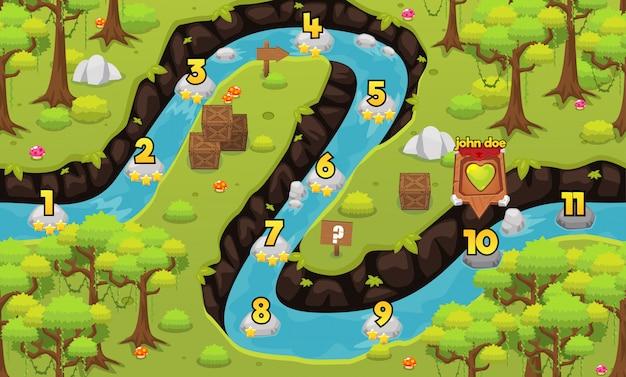 Mapa do nível do jogo da floresta húmida