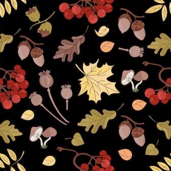 Mapa do outono natureza sem costura padrão