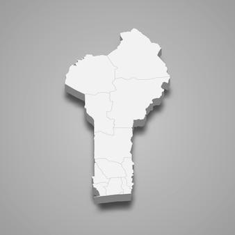 Mapa do país com fronteiras das regiões