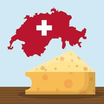Mapa do país suíço e ícone de queijo