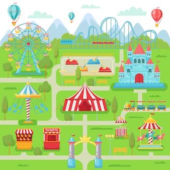 Mapa do parque de diversões. atrações do festival de entretenimento familiar carrossel, montanha russa e ilustração de roda gigante
