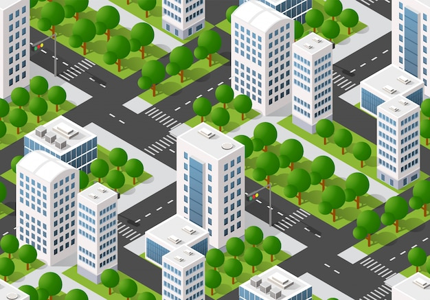 Mapa do plano urbano sem costura, paisagem isométrica