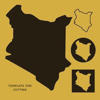 Mapa do quênia modelo para corte a laser, escultura em madeira, corte de papel. silhuetas para corte. estêncil de vetor de mapa do quênia.