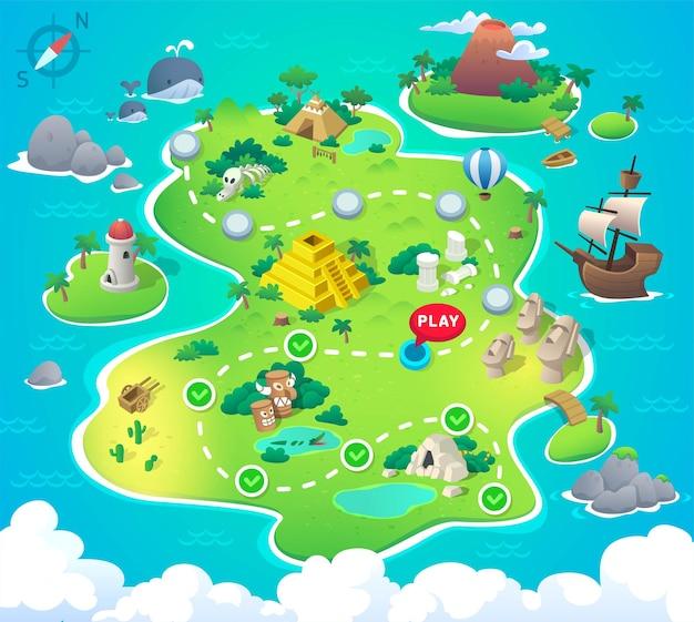 Mapa do tesouro do pirata dos desenhos animados para o jogo