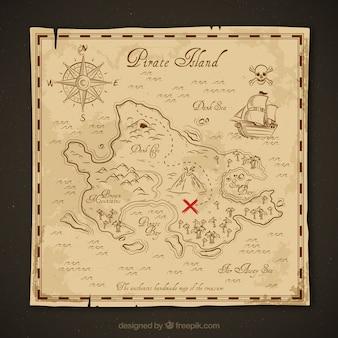 Mapa do tesouro do vintage