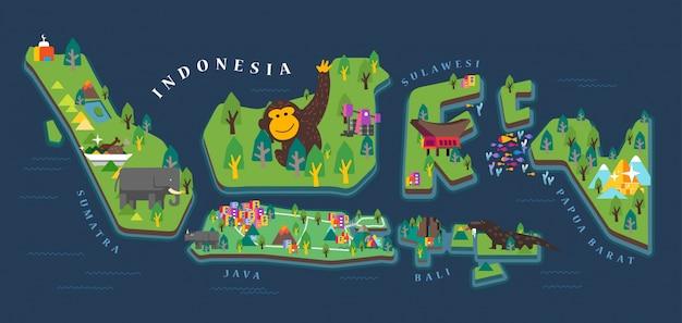 Mapa do turismo da indonésia