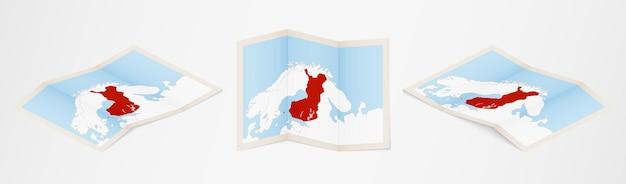 Mapa dobrado da finlândia em três versões diferentes.