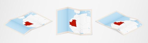 Mapa dobrado da mauritânia em três versões diferentes.