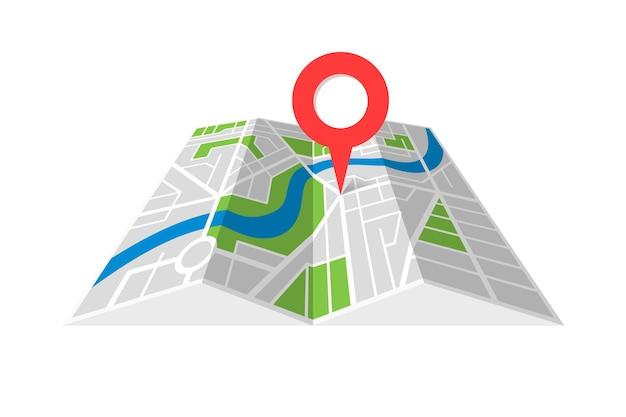 Mapa dobrado de cartografia de rua de cidade com ponteiro de pino de localização de navegação. encontrando a ilustração em vetor símbolo de conceito de direção