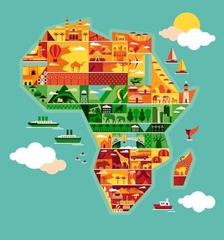 Mapa dos desenhos animados da áfrica.