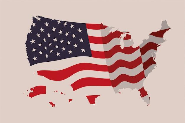 Mapa dos estados unidos da américa com bandeira