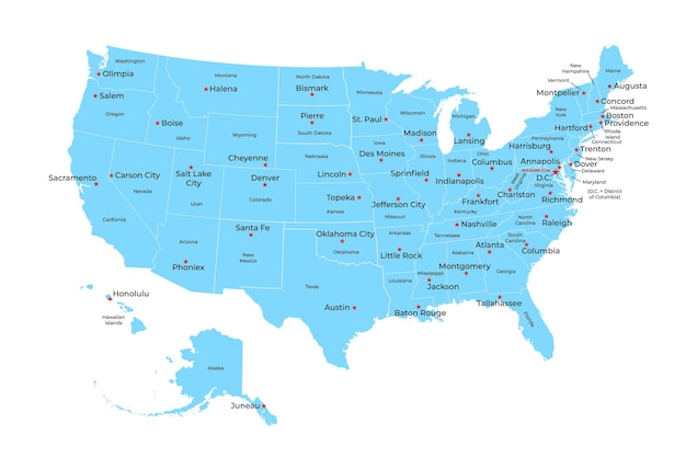 Mapa dos estados unidos da américa com estados e capitais. ilustrador vetorial.
