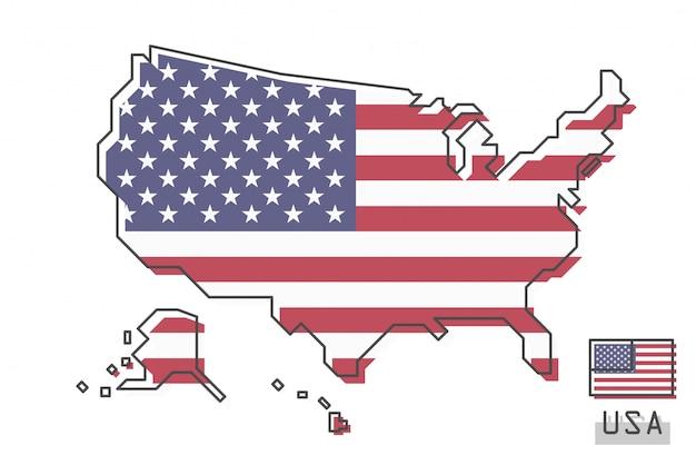 Mapa dos estados unidos da américa e bandeira