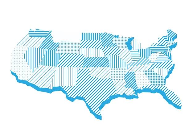 Mapa dos estados unidos em listras e quadrados
