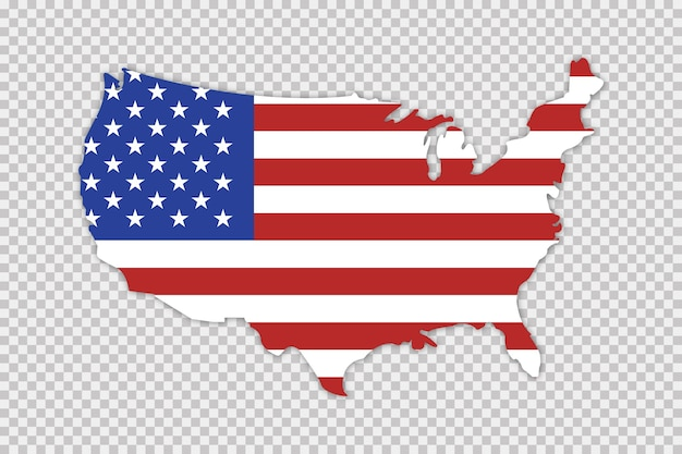 Mapa dos eua com bandeira e sombra. conceito de geografia.