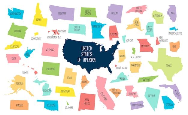 Mapa dos eua com estados separados.