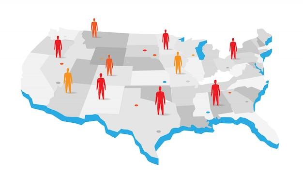 Mapa dos eua com ilustração de ícones de pessoas