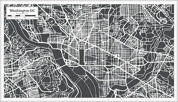 Mapa dos eua de washington dc em estilo retro. ilustração vetorial. mapa de contorno.