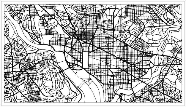 Mapa dos eua de washington dc em preto e branco. ilustração vetorial. mapa de contorno.