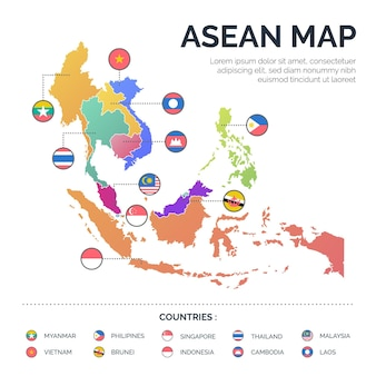 Mapa dos países da associação asean
