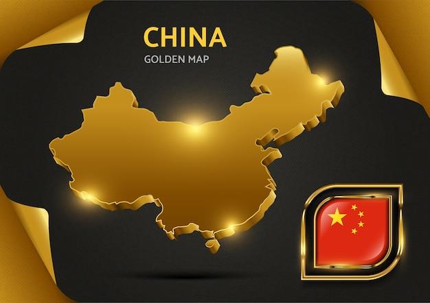 Mapa dourado de luxo china