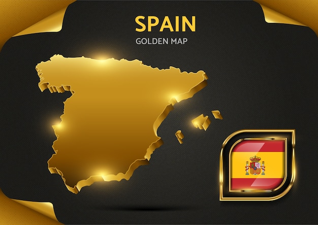 Mapa dourado de luxo da espanha