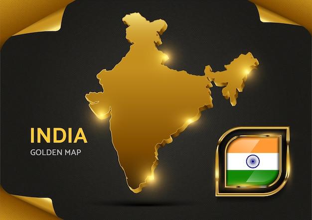 Mapa dourado de luxo da índia