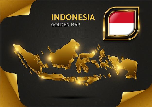 Mapa dourado de luxo da indonésia