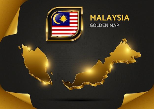 Mapa dourado de luxo da malásia