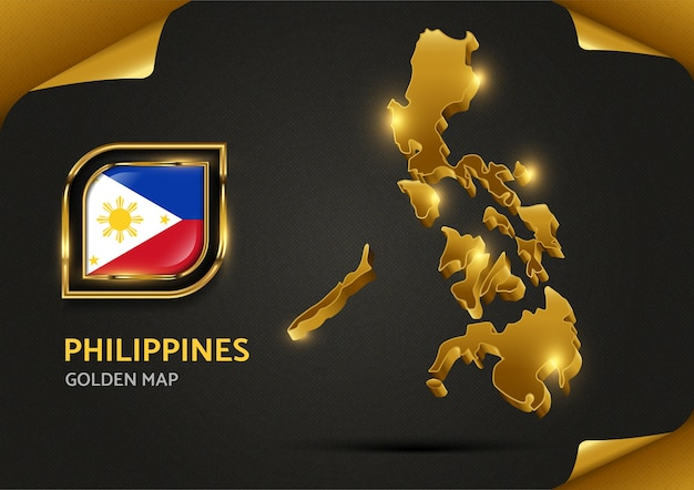 Mapa dourado de luxo das filipinas