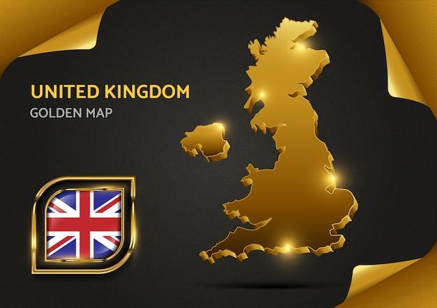 Mapa dourado luxuoso do reino unido