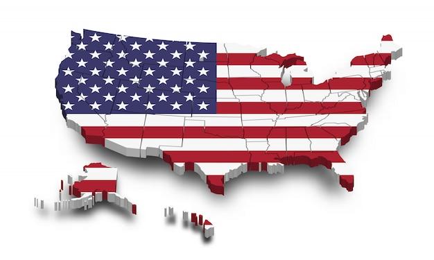Mapa e bandeira de estados unidos da américa. projeto da forma 3d