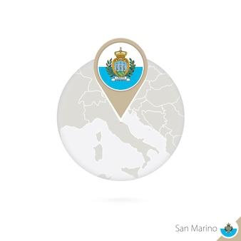 Mapa e bandeira de san marino em círculo. mapa de san marino, pino da bandeira de san marino. mapa de san marino no estilo do globo. ilustração vetorial.