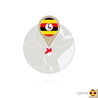 Mapa e bandeira de uganda em círculo. mapa de uganda, pino de bandeira de uganda. mapa de uganda no estilo do globo. ilustração vetorial.