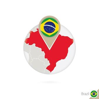 Mapa e bandeira do brasil em círculo. mapa do brasil, pino da bandeira do brasil. mapa do brasil no estilo do globo. ilustração vetorial.