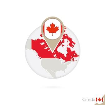 Mapa e bandeira do canadá em círculo. mapa do canadá, pino de bandeira do canadá. mapa do canadá no estilo do globo. ilustração vetorial.