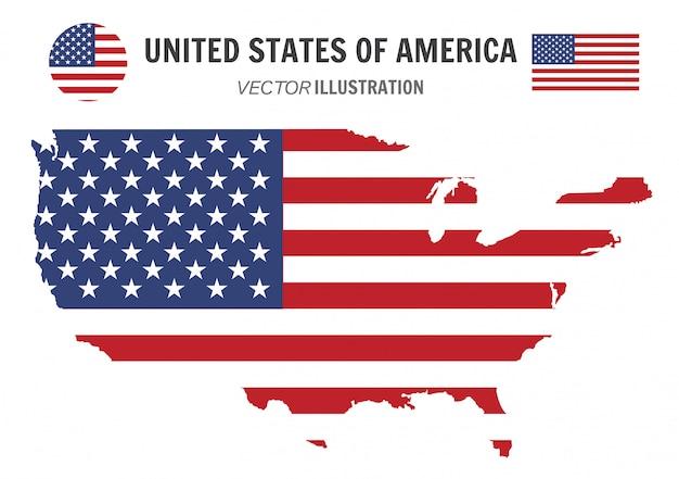 Mapa e bandeira dos estados unidos da américa,