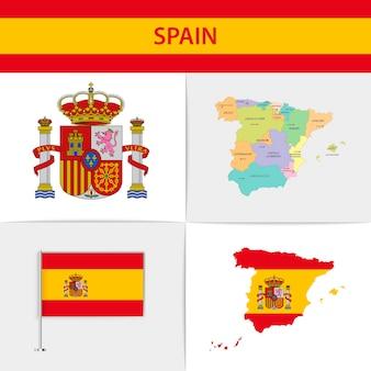 Mapa e brasão da bandeira da espanha