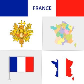 Mapa e brasão da bandeira da frança
