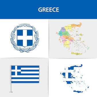 Mapa e brasão da bandeira da grécia