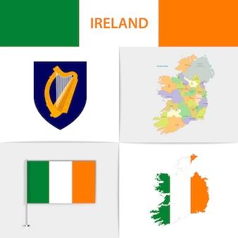 Mapa e brasão da bandeira da irlanda