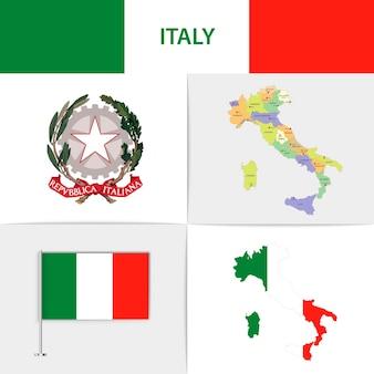Mapa e brasão da bandeira da itália