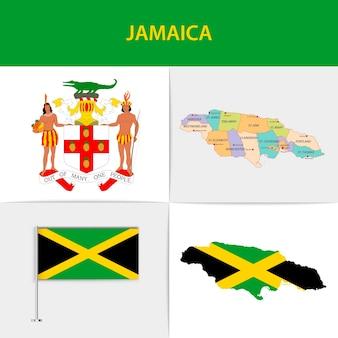 Mapa e brasão da bandeira da jamaica
