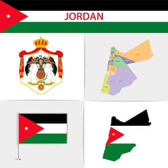 Mapa e brasão da bandeira da jordânia
