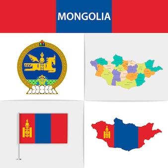 Mapa e brasão da bandeira da mongólia