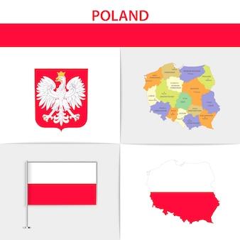 Mapa e brasão da bandeira da polónia