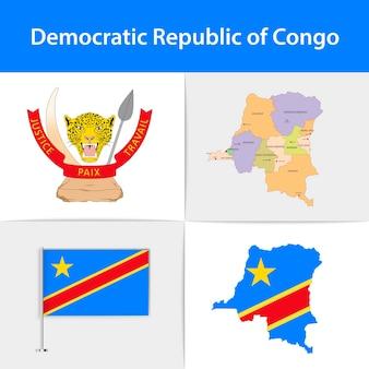 Mapa e brasão da bandeira da república democrática do congo