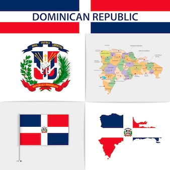 Mapa e brasão da bandeira da república dominicana